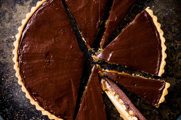 Chocolate Caramel Tart Recipe with Peanuts