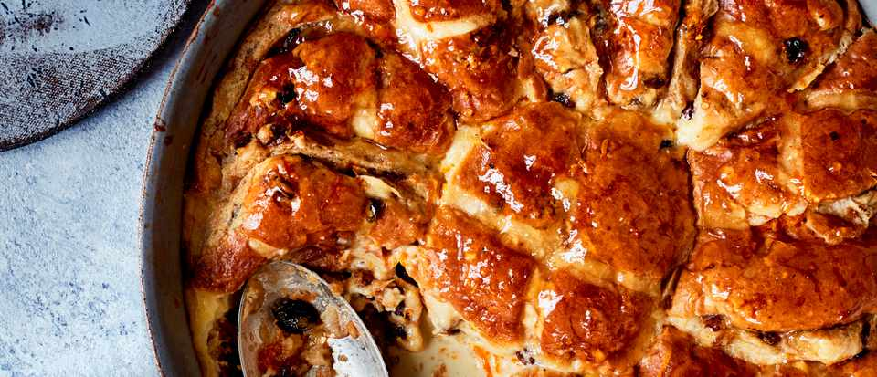 Hot Cross Bun Bread and Butter Pudding Recipe