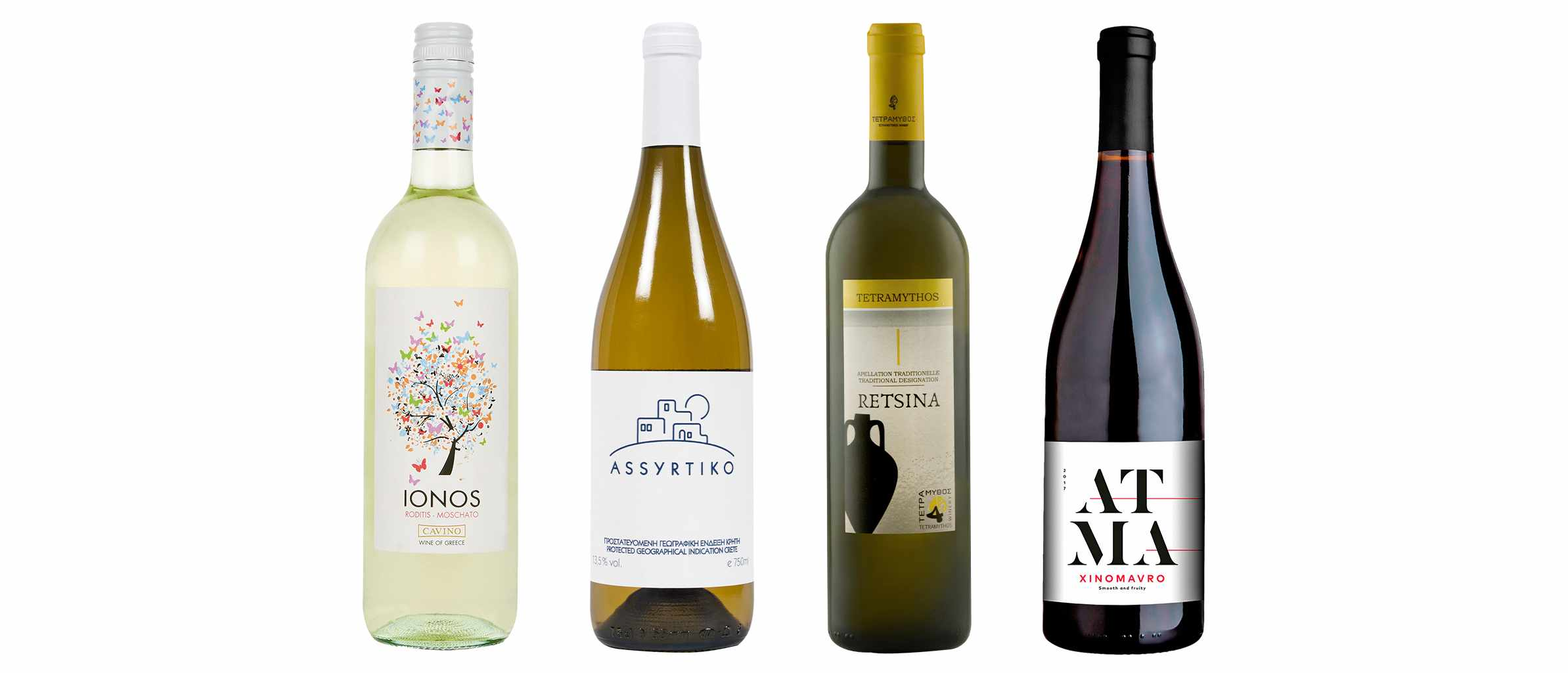 Four bottles of Greek wine in a row. Three are white wine and the fourth is a red wine