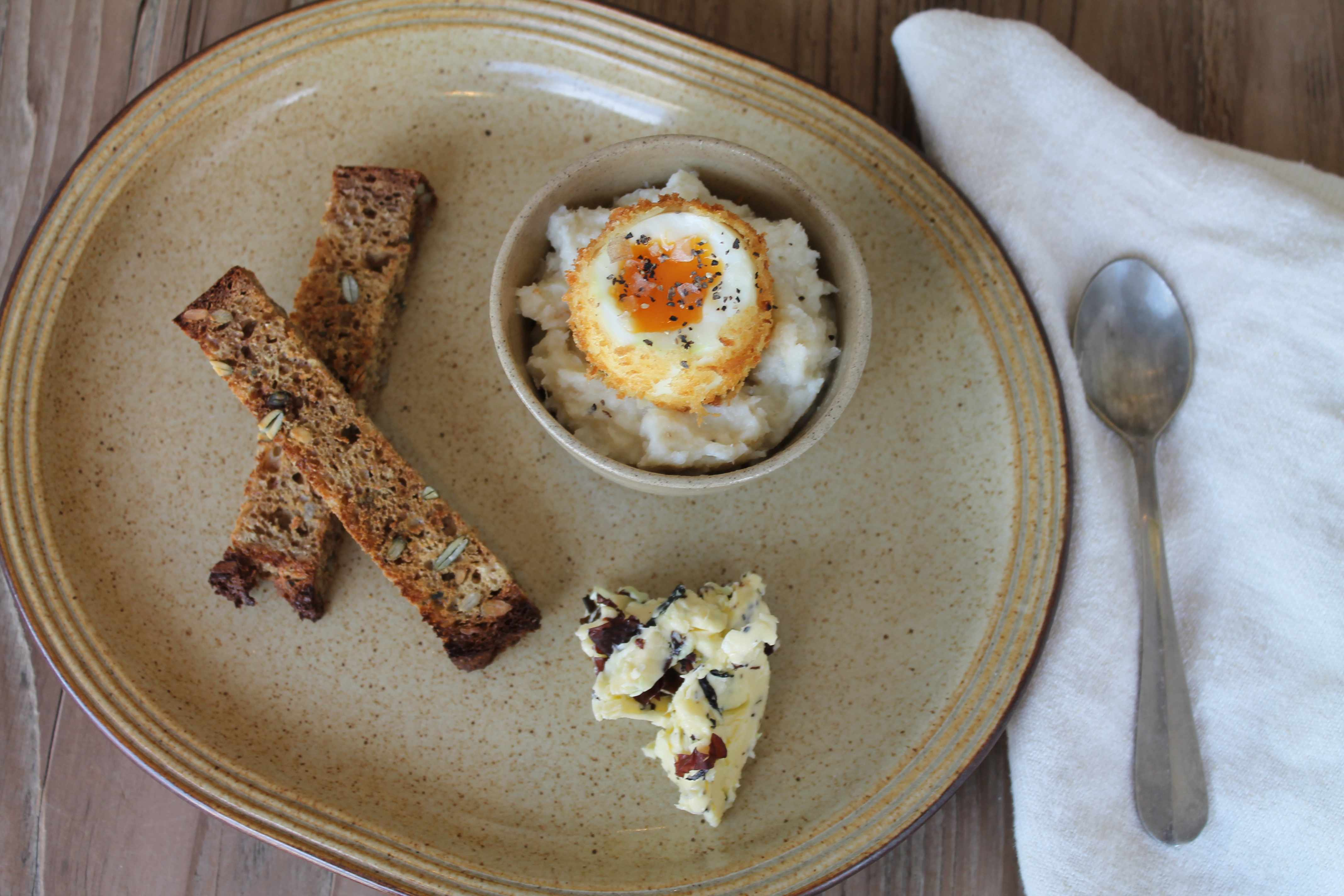 Dippy egg and soldiers, smoked brandade and creathnach butter