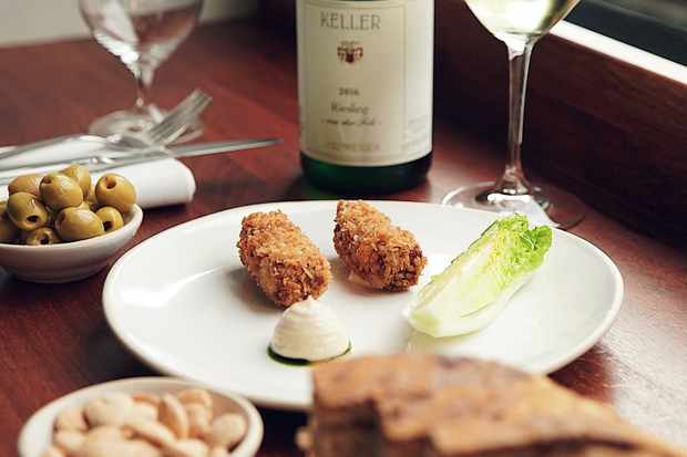 Hogget croquette, caesar and basil