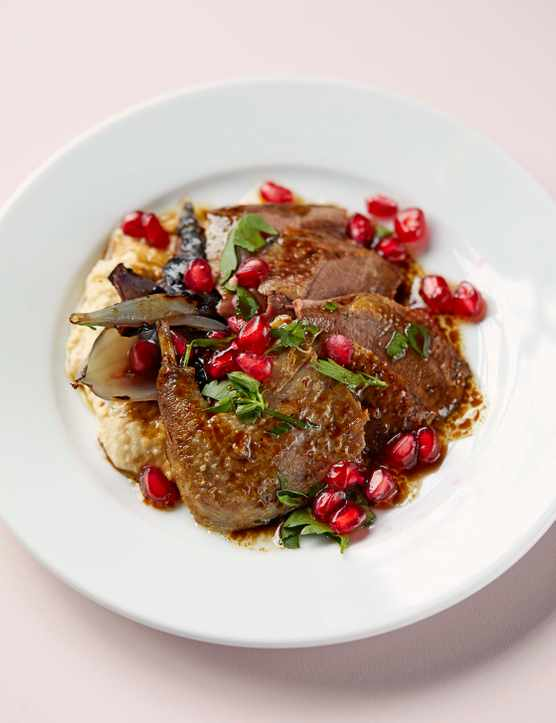 Pigeon Breast Recipe with Hummus and Pomegranate