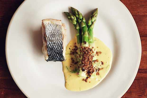 Daren of sea bass, breadcrumbs, asparagus and wild garlic hollandaise