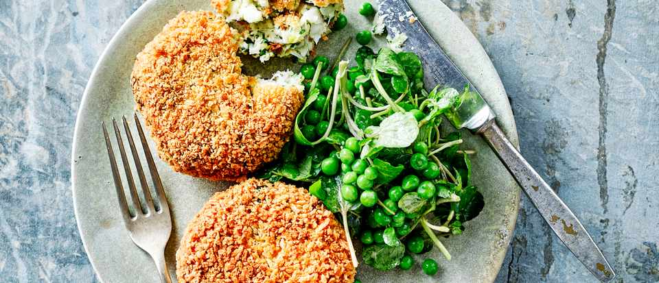 Haddock Fish Cakes Recipe with Watercress and Pea Salad