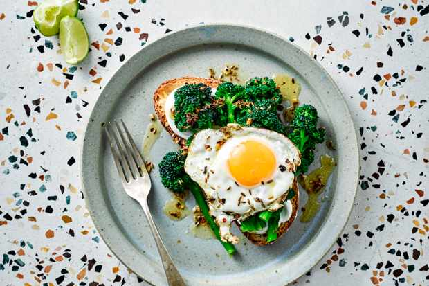 Purple Sprouting Broccoli Recipe with Fried Eggs
