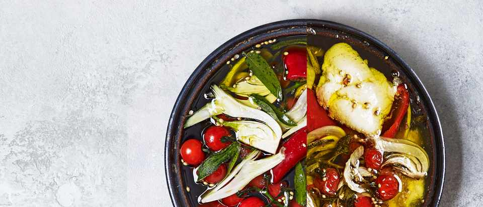 Confit Hake Recipe with Cherry Tomatoes and Garlic