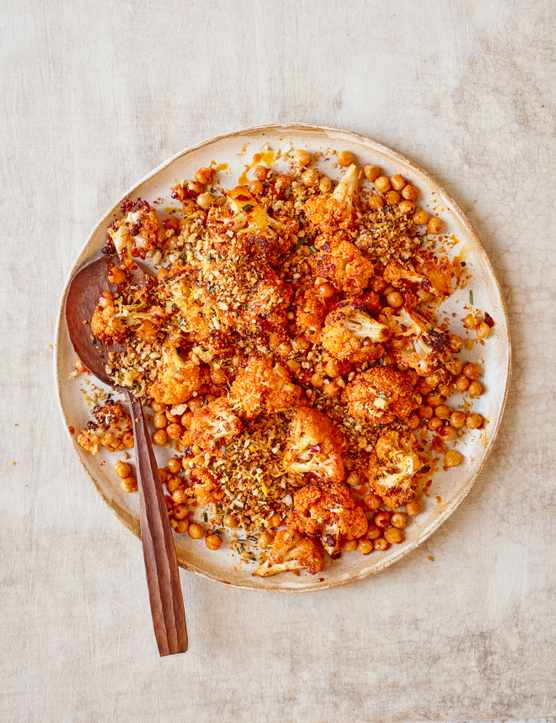Cauliflower and Chickpea Salad with Harissa Recipe