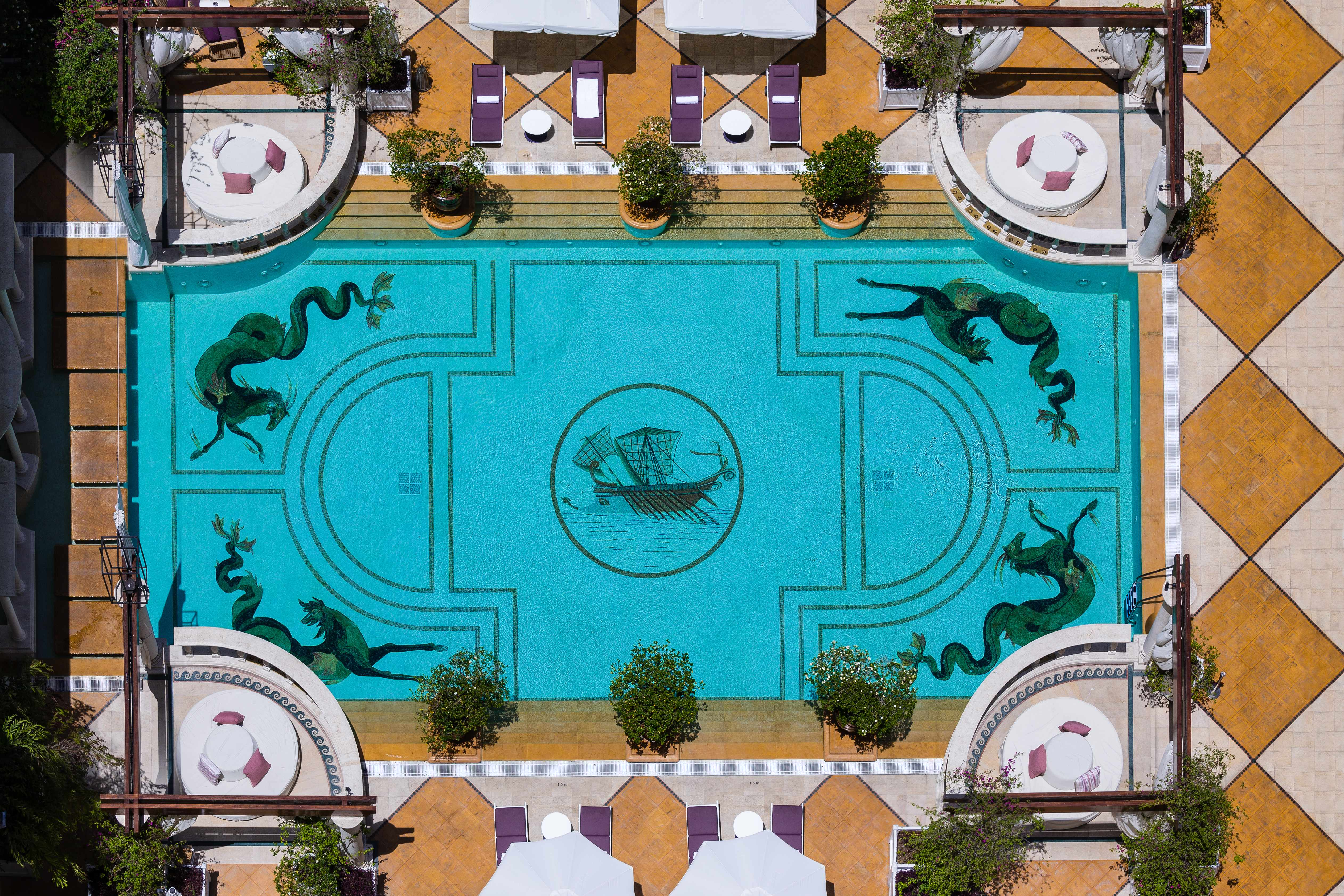 An overhead shot of a swimming pool