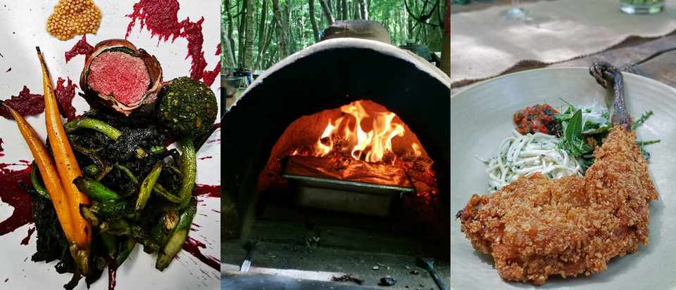Three images. The first is of a piece of meat on a plate with vegetables, the second is of a wood-fire oven and the final is of a piece of meat that's been deep-fried