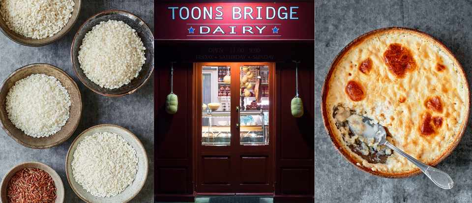 Three images in a row. The first is of uncooked rice, the second is of a shop front and the third is a pot of rice pudding
