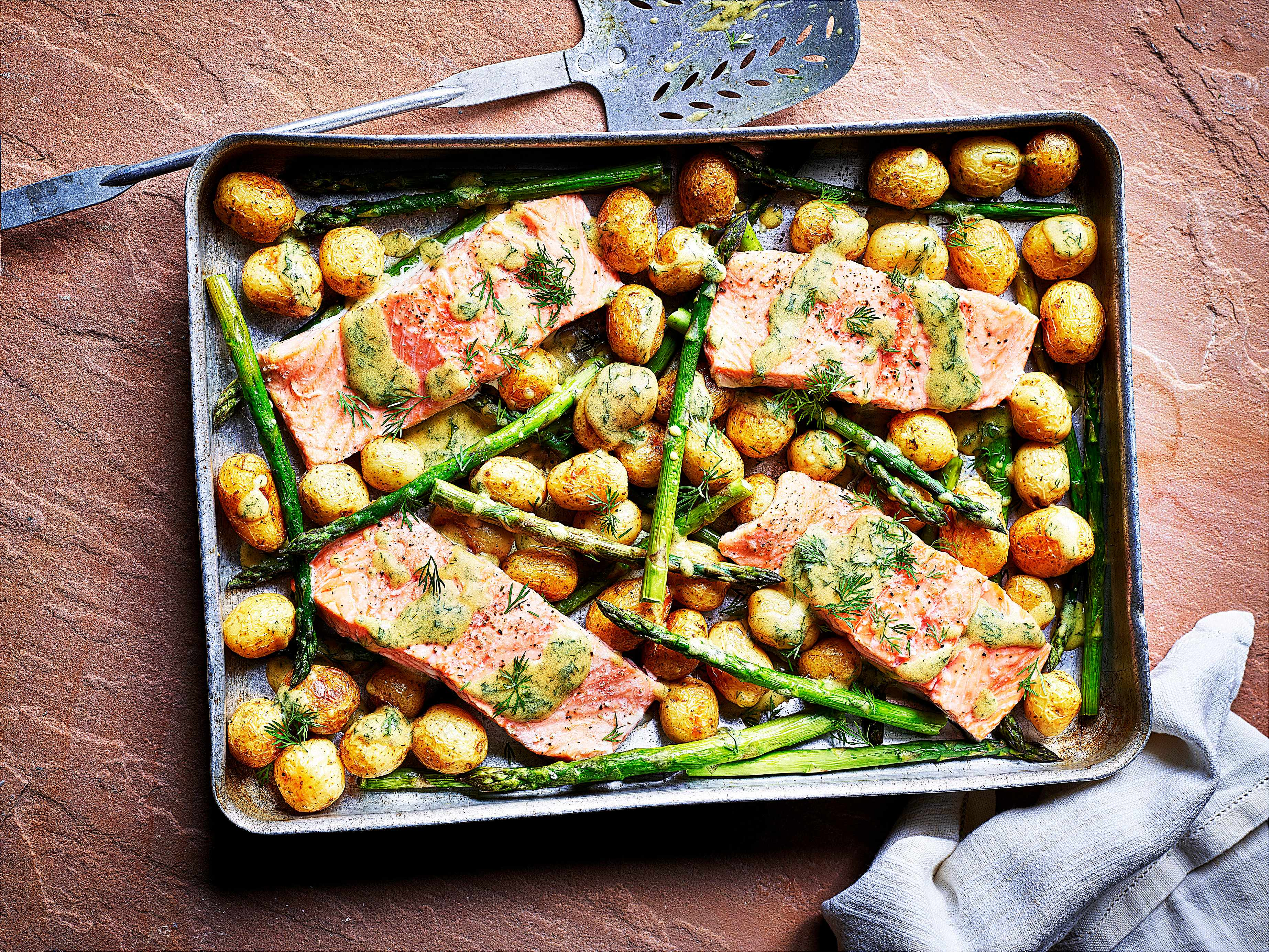 Fish Tray Bake Recipe with Sea Trout, New Potato and Asparagus