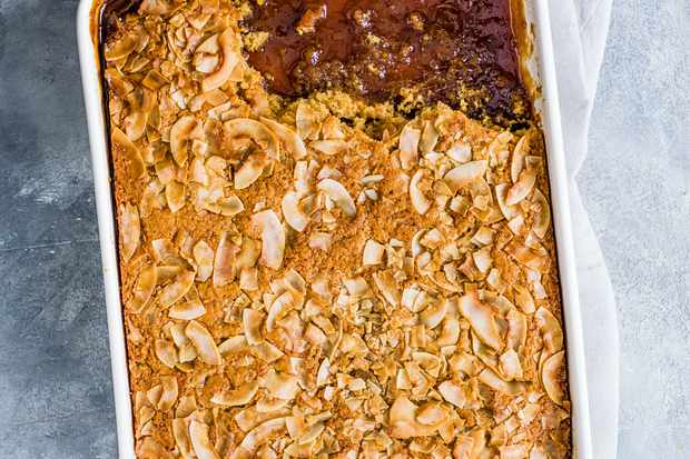 Caramel Self-Saucing Pudding Recipe with Coconut