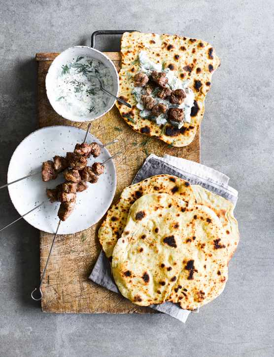Lamb Skewers Recipe with Flatbreads and Garlic Yogurt