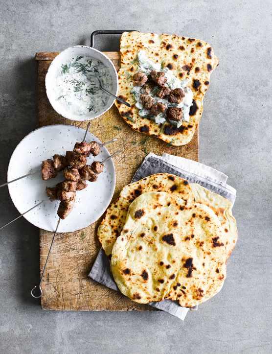 Lamb Skewers Recipe with Flatbreads and Garlic Yogurt