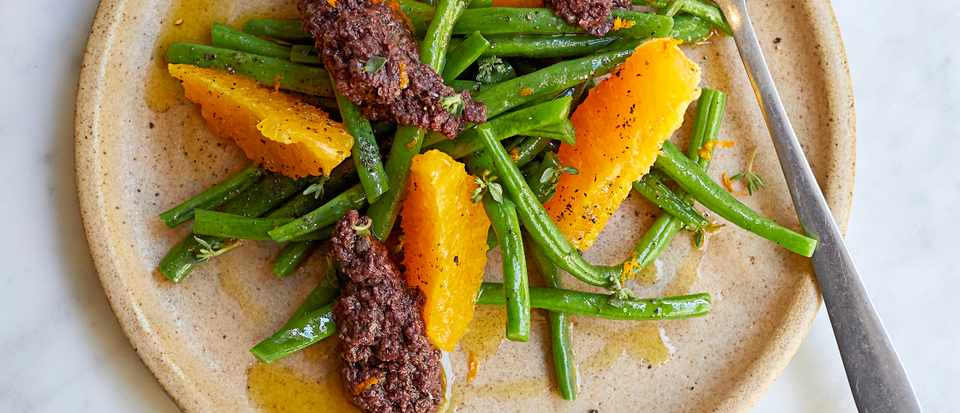 Green Bean Salad Recipe with Orange and Tapenade