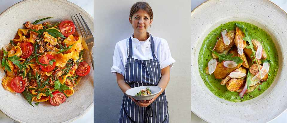 There are three images in a row. The first is of a plate of tagilatelle pasta with crab, the second is a woman wearing a stripy apron and the third is a plate of potatoes in a green sauce