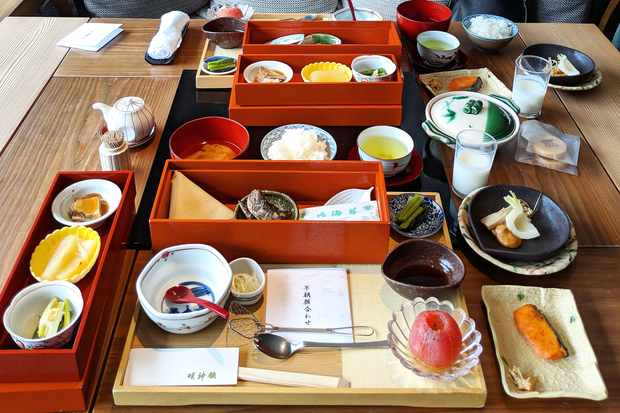 Japanese breakfast at Myojinkan Matsumoto