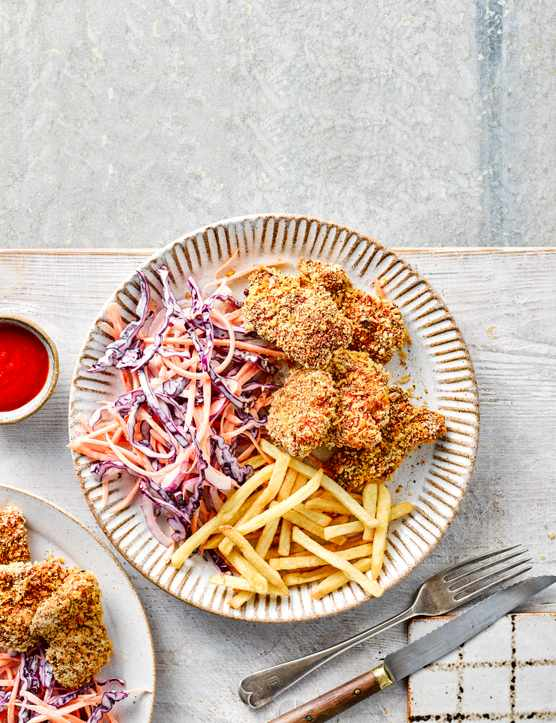 Oven Fried Chicken Recipe with Slaw
