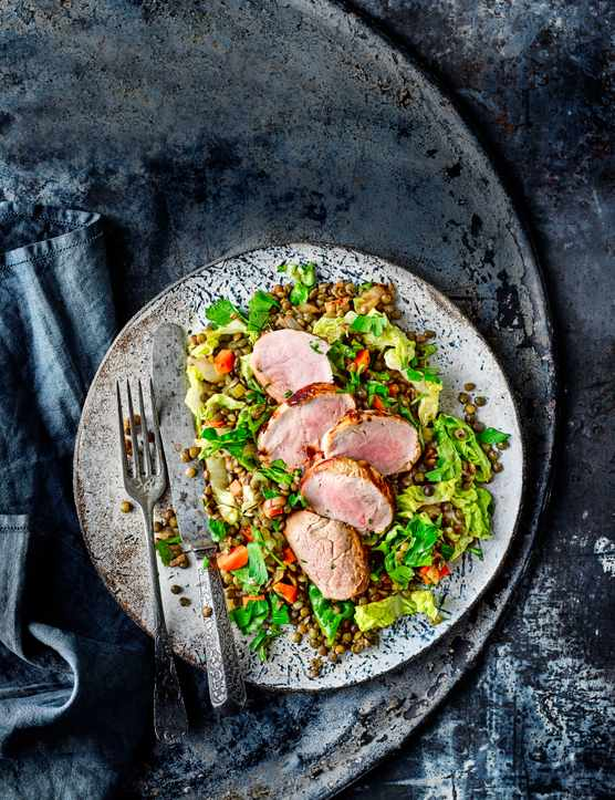 Pork Fillet Recipe with Lentils