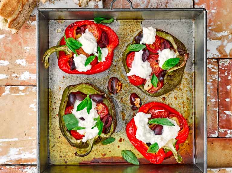 Mediterranean roast peppers with olives and goat's cheese
