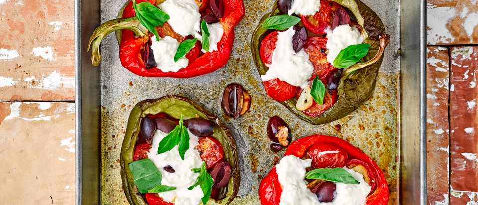 Goat's Cheese Stuffed Peppers Recipe with Olives