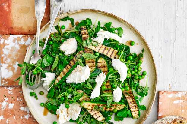 Pea and Mint Salad Recipe with Griddled Courgette and Mozzarella