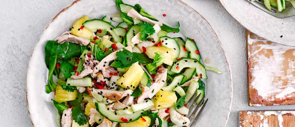 Sweet and Sour Chicken Salad Recipe with Pineapple