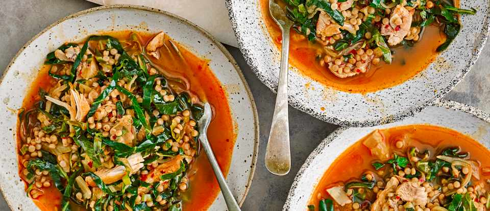 Chicken Broth Recipe with Couscous and Harissa