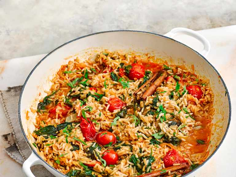 Preserved lemon, spinach and cherry tomato pilaf