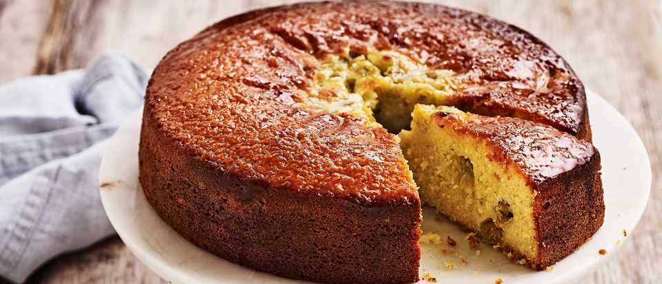 Gooseberry and Almond Cake Recipe with Elderflower Drizzle