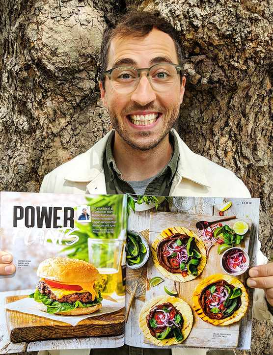 A vegan burger next to a photo of Richard Making next to a photo of vegan tacos