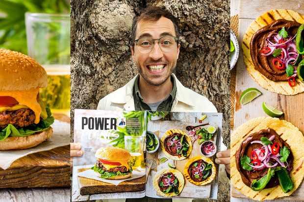 A vegan burger next to a photo of Richard Making next to a photo of vegan tacos