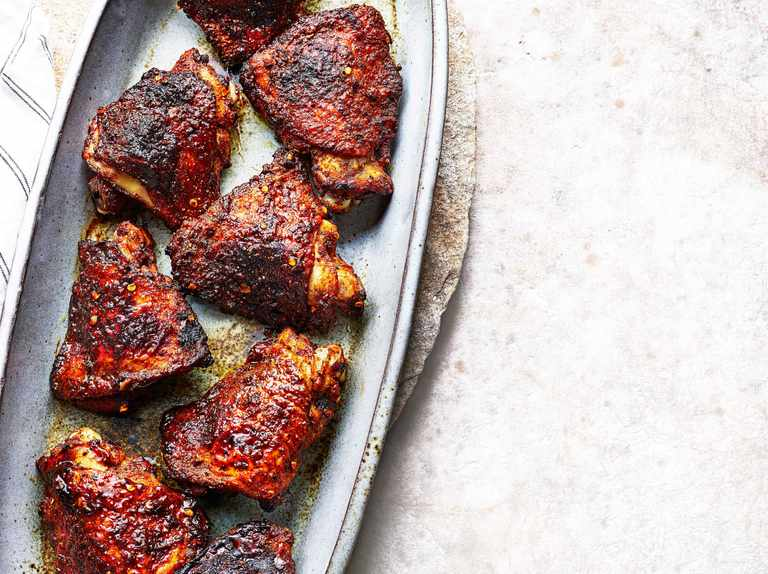 Ras el hanout and honey BBQ chicken thighs