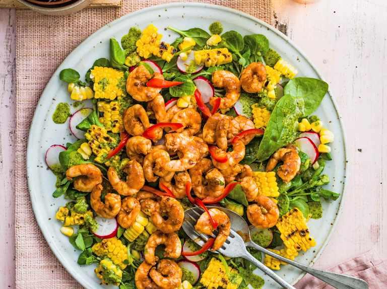 Baja shrimp and blackened corn salad