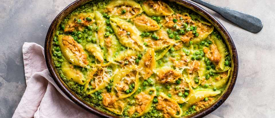 Crab Pasta Bake Recipe with Peas