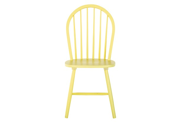 A wooden chair painted yellow