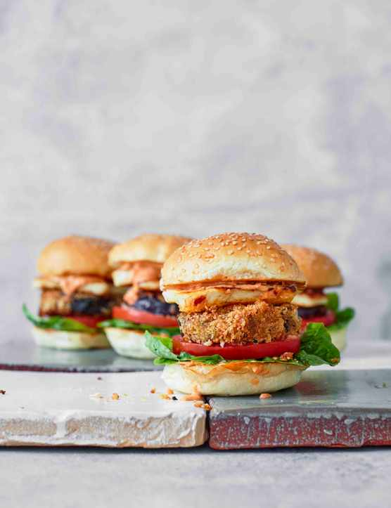 Halloumi Burger Recipe with Aubergine