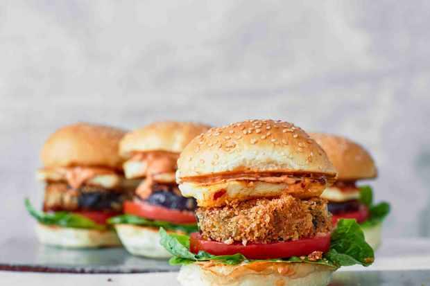 Halloumi Burger Recipe with Aubergine