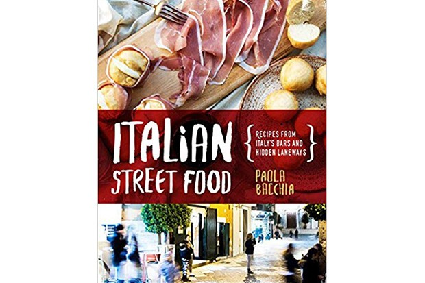 A book cover with images of Italian food and streets
