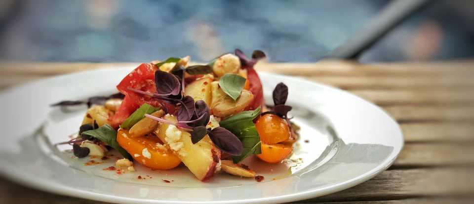 Peach and Tomato Salad at Bristol Lido Restaurant