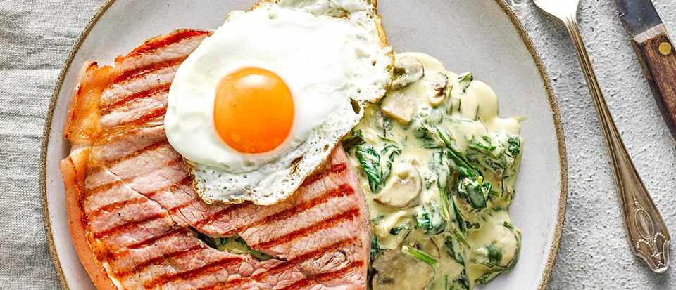 Gammon Steak With Creamy Spinach And Mushroom Sauce