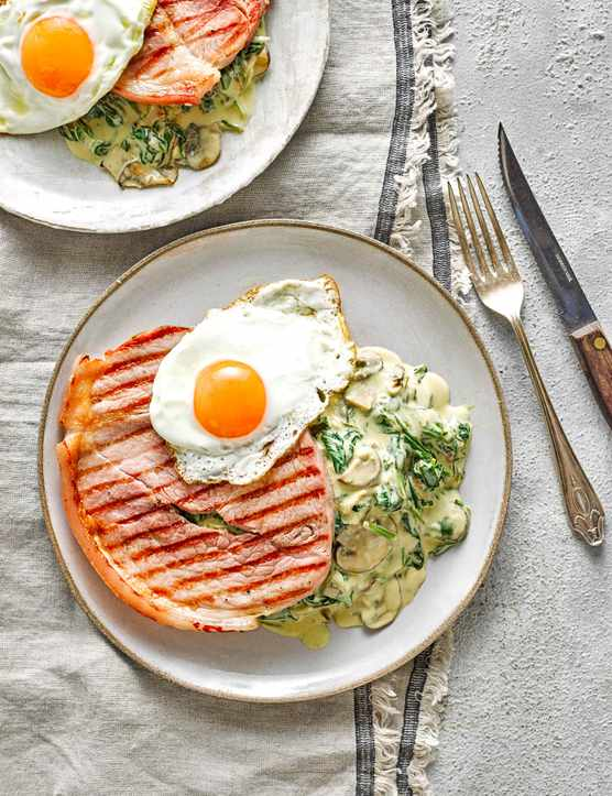 Gammon Steak With Creamy Spinach And Mushroom Sauce