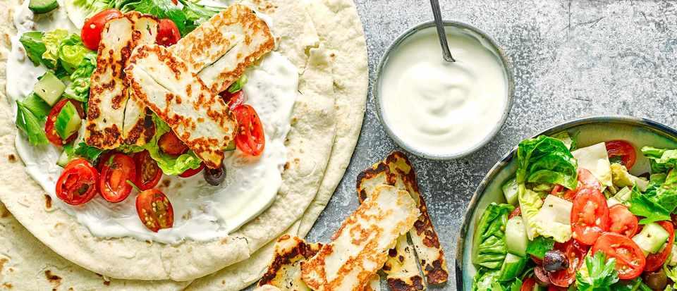 Halloumi Wrap Recipe With Greek Salad