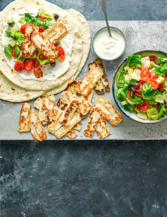 Halloumi Wrap Recipe With Greek Salad