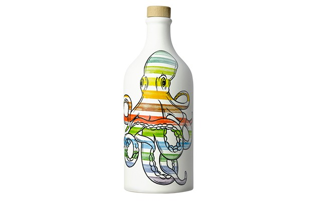 A white bottle with a colourful octopus painted onto it
