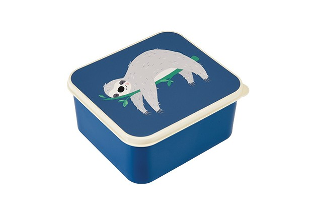 A square lunchbox in blue with a drawing of a grey sloth on top