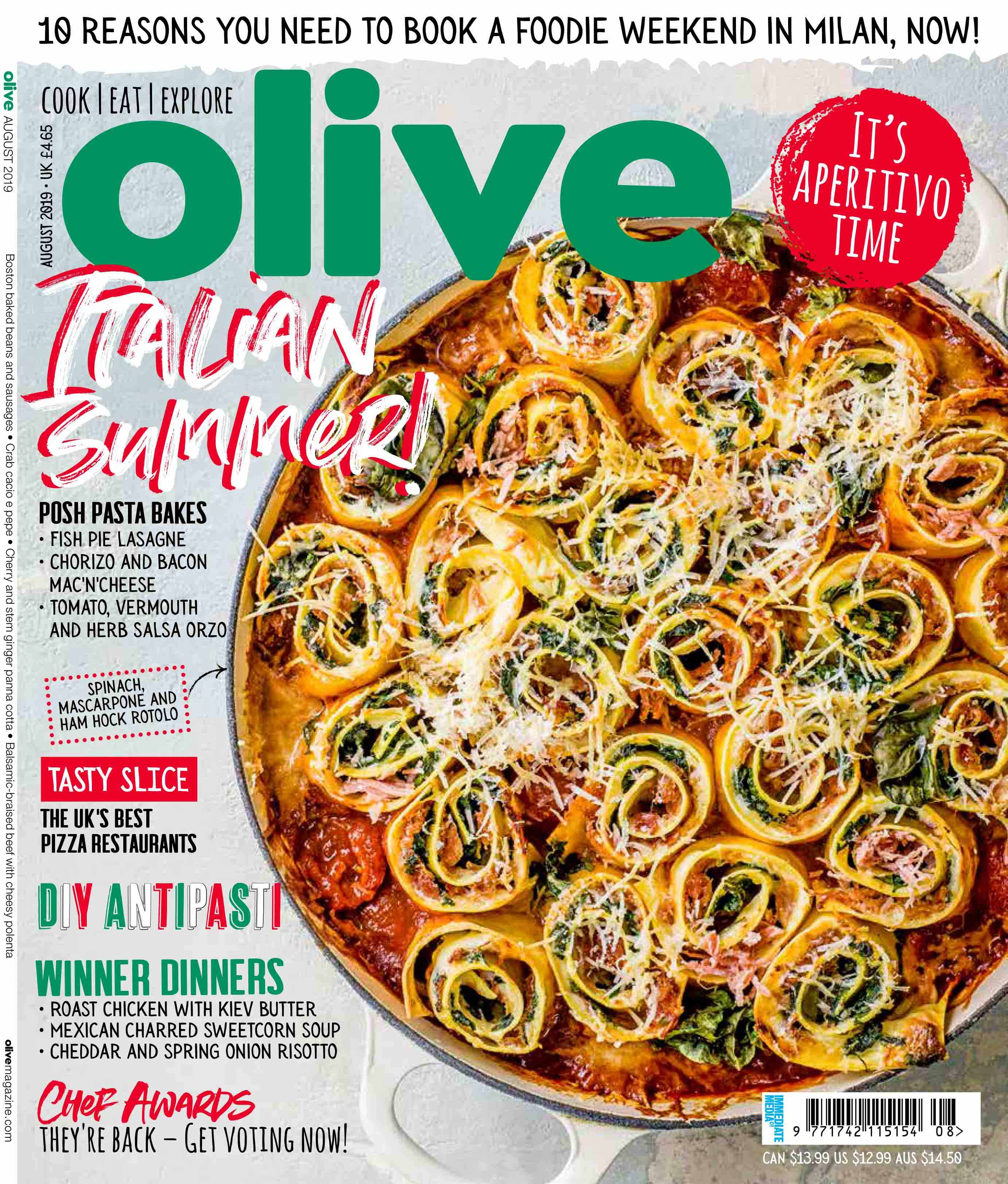 image of the front cover of the august magazine with pasta twirls in a dish