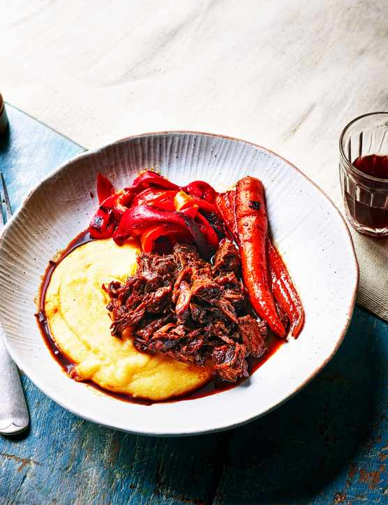 Braised Beef Recipe with Balsamic and Cheesy Polenta