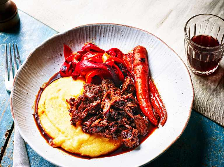 Balsamic braised beef with cheesy polenta