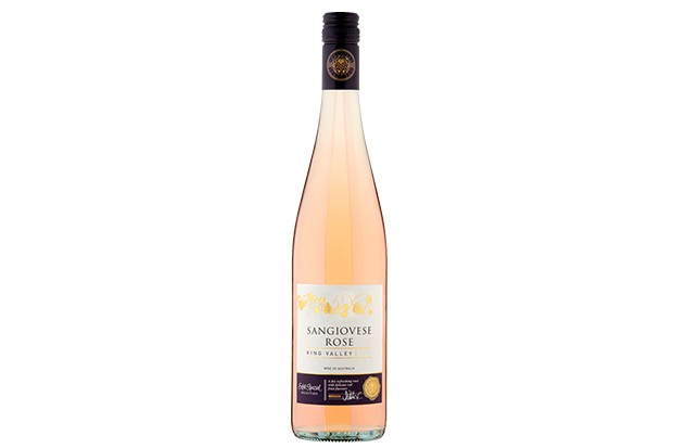 A long pale pink bottle of rose wine